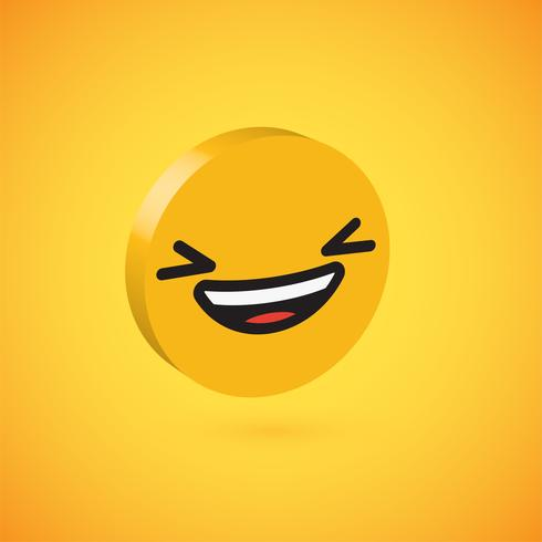 Yellow high detailed 3D disc emoticon, vector illustration