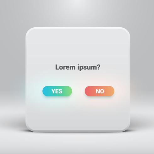 Question card with yes-no buttons, vector illustration
