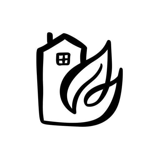 Hoja de la casa ecológica. Simple caligrafía naturaleza vector bio icono. Arquitectura de inmuebles Construcción para diseño. Elemento de jardín verde dibujado a mano vintage hogar arte