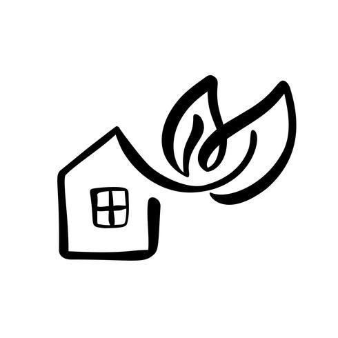 Eco Hausblatt. Einfache Kalligraphienatur Vektor-Bioikone. Estate Architecture Construction für Design. Gezeichnetes Logo-Grün-Gartenelement der Kunstausgangsweinlese Hand