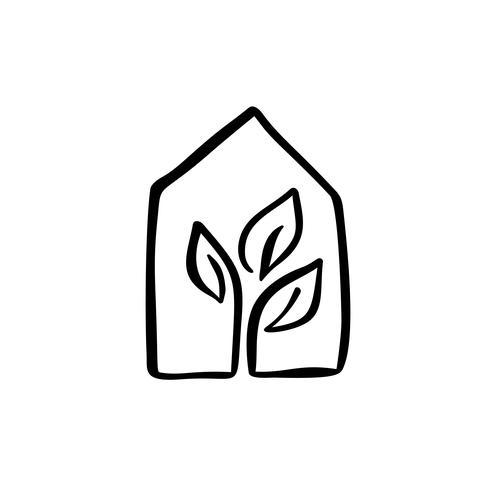 Eco House-blad. Simple Calligraphy nature Vector bio pictogram. Estate-architectuur Constructie voor ontwerp. Kunst huis vintage hand getrokken Logo groene tuin element