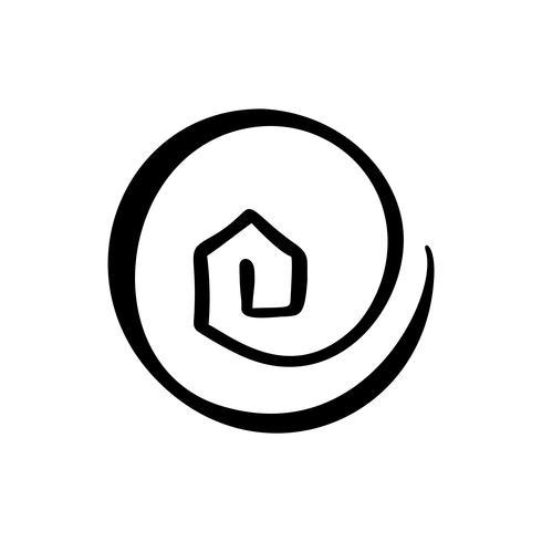 Icona di vettore reale casa semplice calligrafia. Estate Architecture Costruzione per il design. Elemento di logo disegnato a mano dell'annata di arte casa