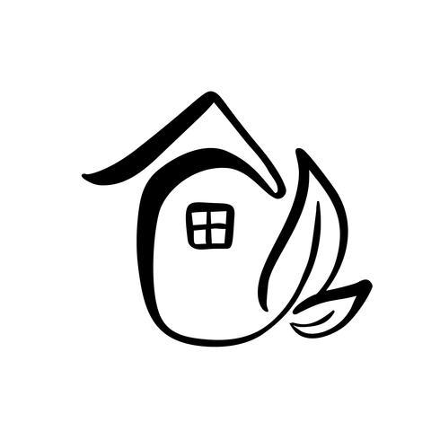 Folha de Eco House. Natureza simples caligrafia Vector bio ícone. Arquitetura imobiliária Construção para o projeto. Arte casa vintage mão desenhada logotipo verde jardim elemento