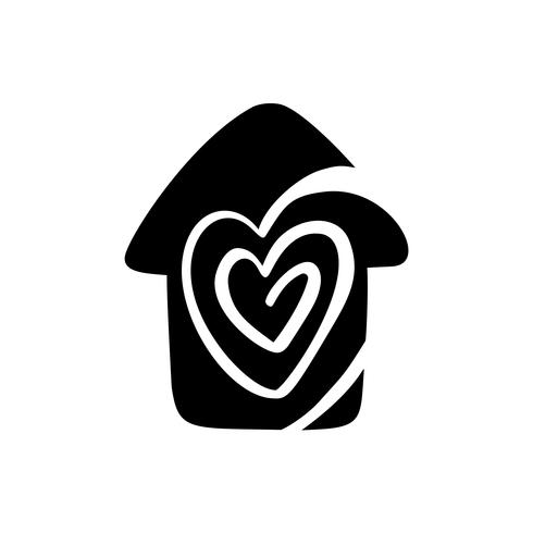 Simple Calligraphy House with heart. Real Vector Icon. Consept comfort and protection. Architecture Construction for design. Art home vintage hand drawn Logo element