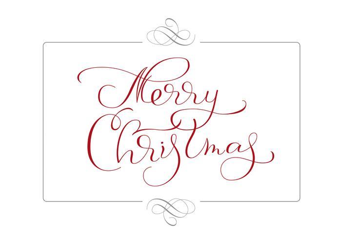 abstrakter Rahmen und kalligraphischer Text Frohe Weihnachten. Vektorabbildung EPS10