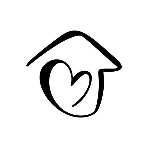 Einfaches Kalligraphie-Haus mit Herz. Echte Vektor-Symbol. Behaglichkeit und Schutz. Architekturaufbau für Wohndesign. Kunstweinlese Hand gezeichnetes Logoelement