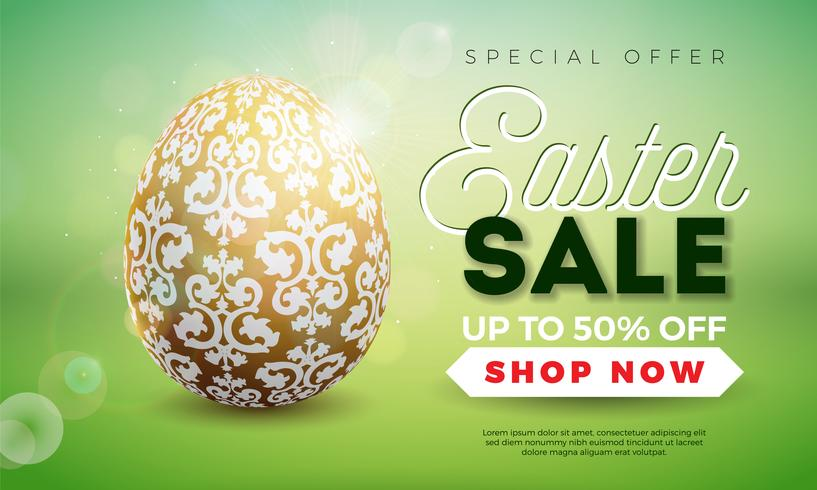 Easter Sale Illustration with Gold Painted Egg on Shiny Green Background.