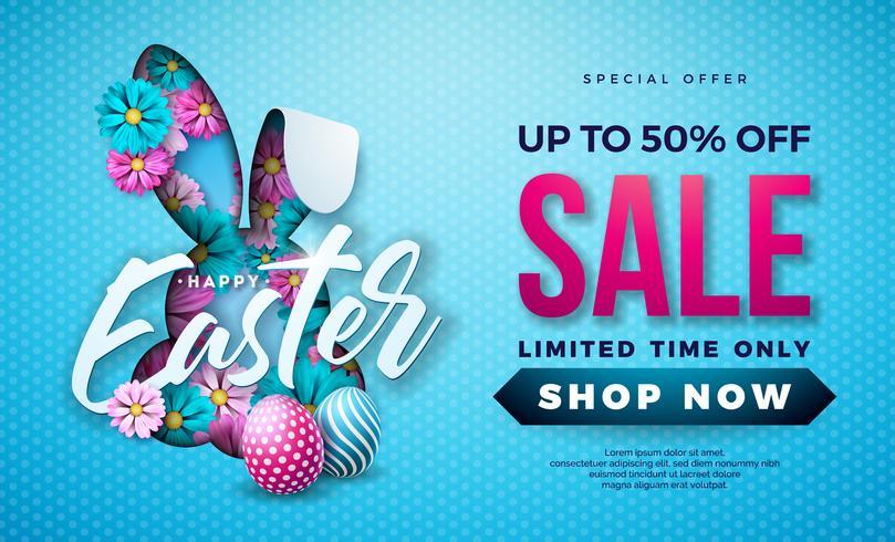 Ostern-Verkaufs-Illustration mit Farbe gemaltem Ei, Frühlings-Blume und den Kaninchen-Ohren