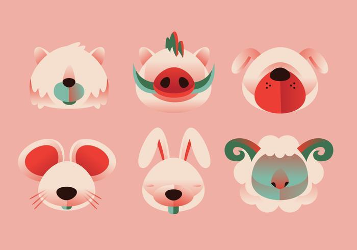 Forma simple animal cabeza conjunto ilustración vectorial
