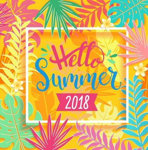 Olá Verão 2018 lettering em folhas tropicais.