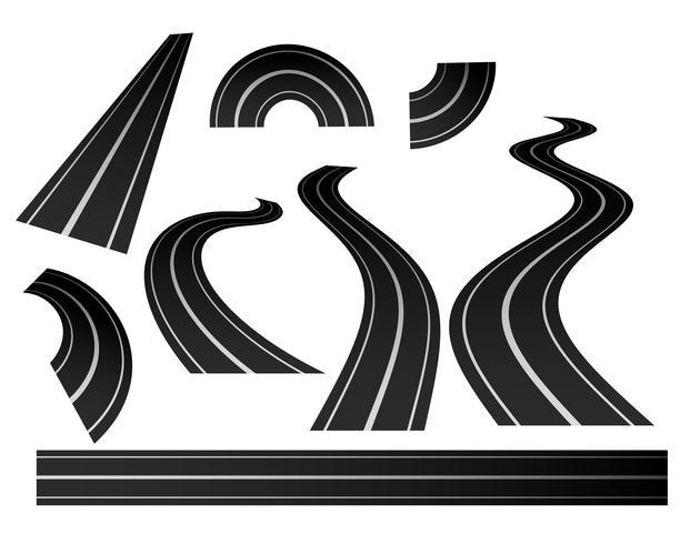 conjunto de direção curvada estrada sinuosa