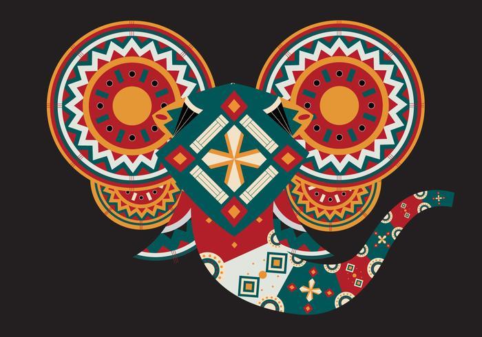 Geometric Painted Elephant Head Vector Illustration