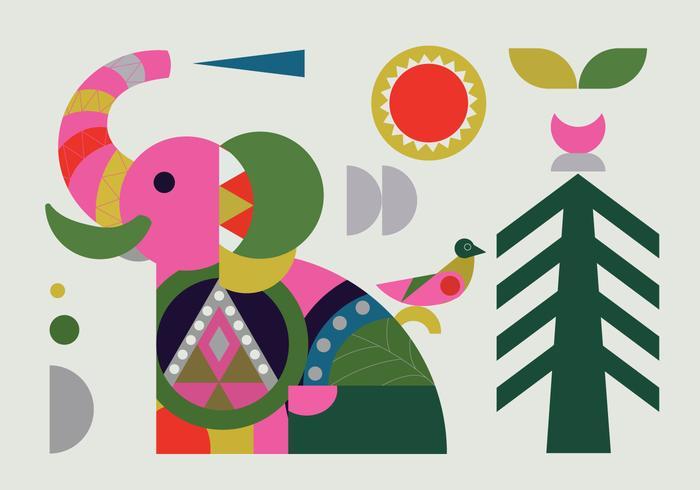 Forma geométrica simple elefante ilustración vectorial