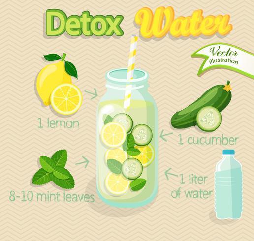 Detox cocktail, vector.