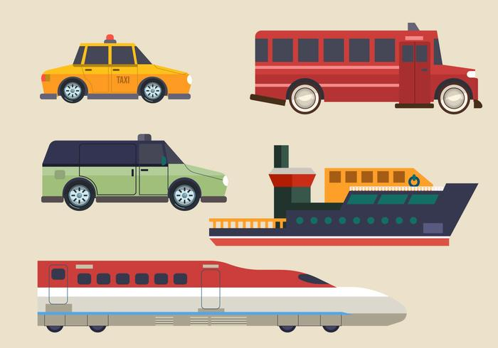 Modern Transport Clipart Ställ Vektor Illustration