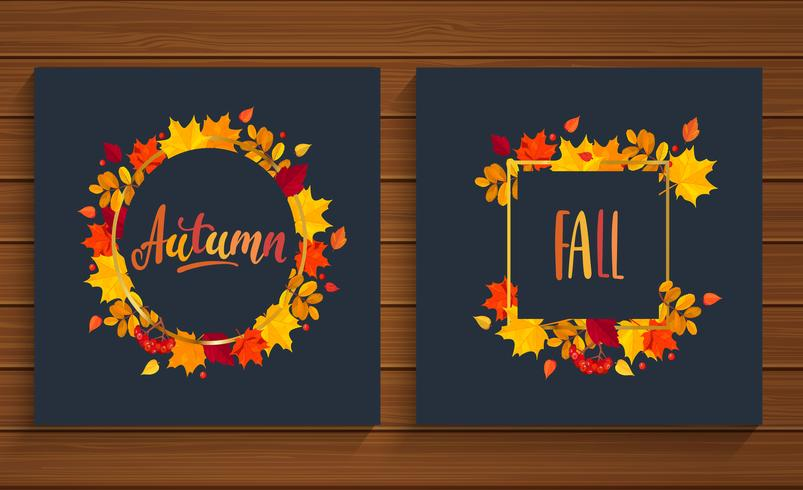 Autumn and Fall cards in frame from autumn leaves.