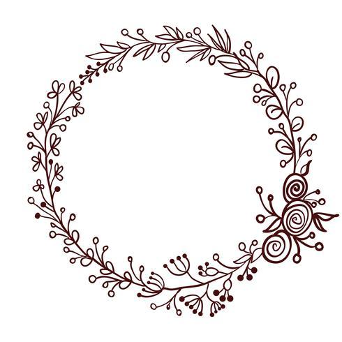 Runder Rahmen der Blätter getrennt auf weißem Hintergrund. Vektorabbildung EPS10