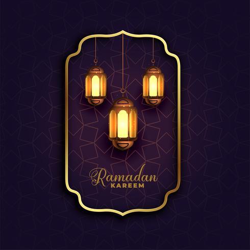 Fondo islámico Ramadán Kareem con lámparas