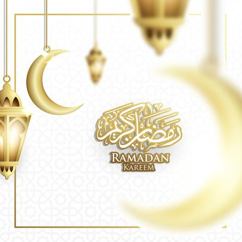 Hanging Ramadan Lantern or Fanoos Lantern & Crescent moon Background in Blurry Concept. For Web banner, greeting card & Promotion template in Ramadan Holidays 2019. vector