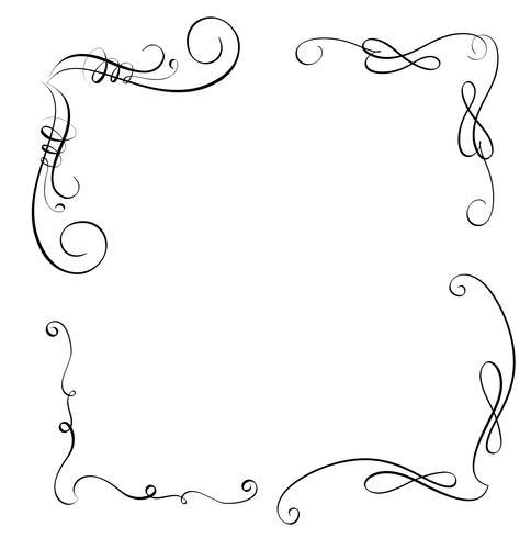 Elemente des Jahrgangs Flourish setzen dekorative Windungen für Design. Kalligraphie-Vektorabbildung EPS10