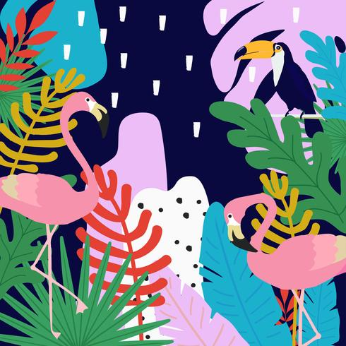 Tropical jungle leaves background with flamingos and toucans