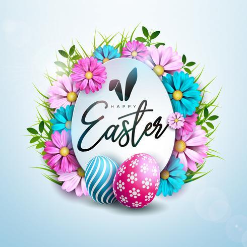 Disegno di festa di Pasqua felice con fiore dipinto e primavera su sfondo pulito.