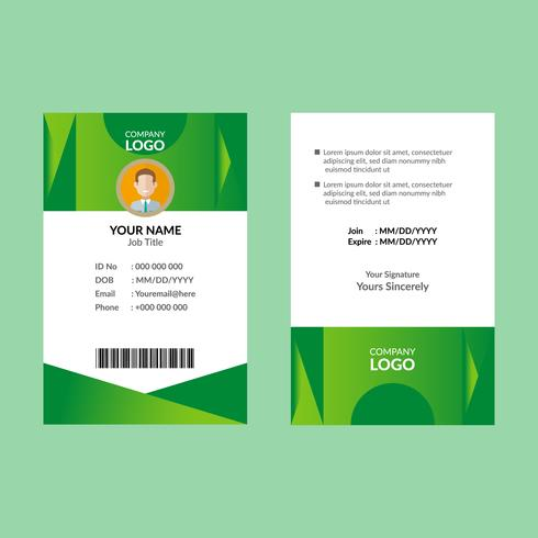 Groene identiteitskaart sjabloon