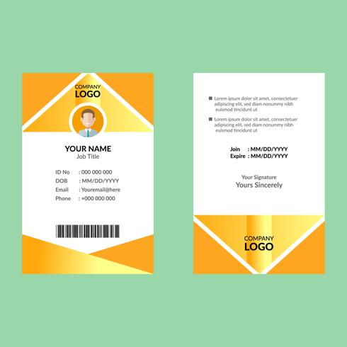 Modello di carta d'identità gialla