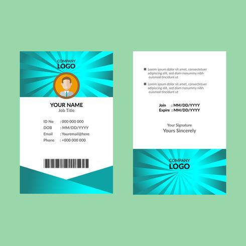 Cyaan ID-kaartsjabloon