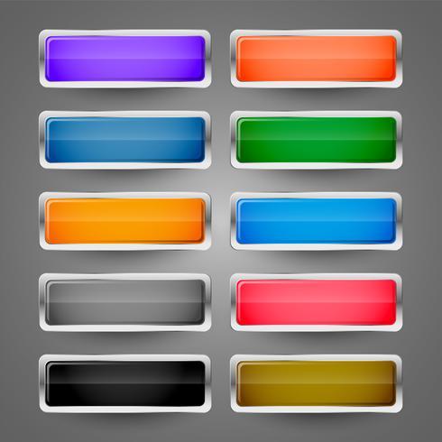 conjunto de botones web brillante metálico en blanco