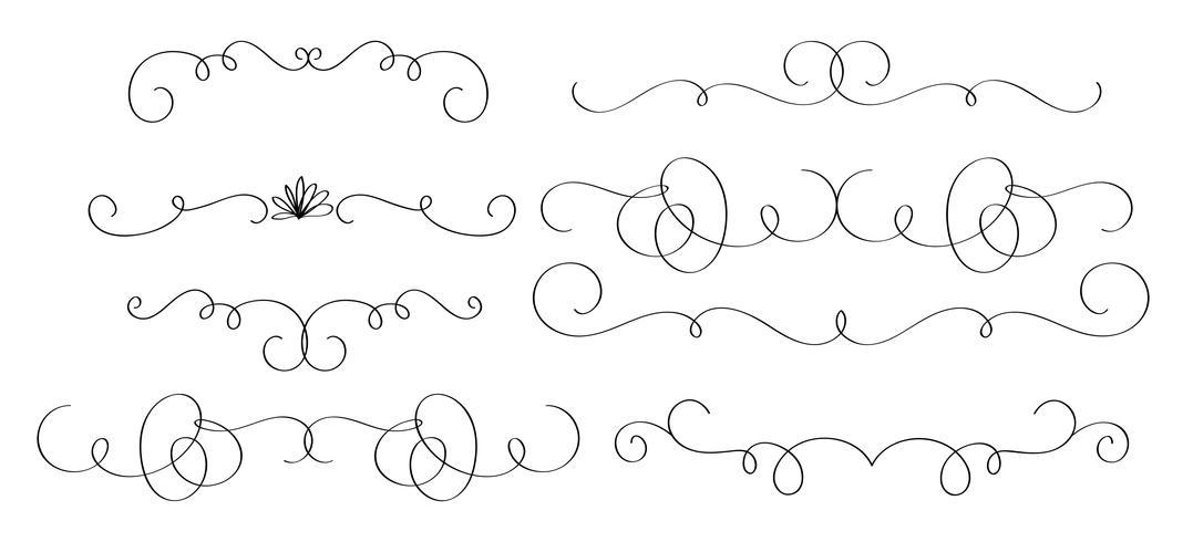 conjunto de caligrafia de arte de whorls decorativos vintage para o projeto. Ilustração vetorial EPS10