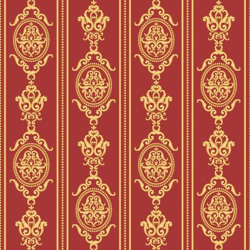 Patrón de damasco sin fisuras. Textura dorada y roja. vector