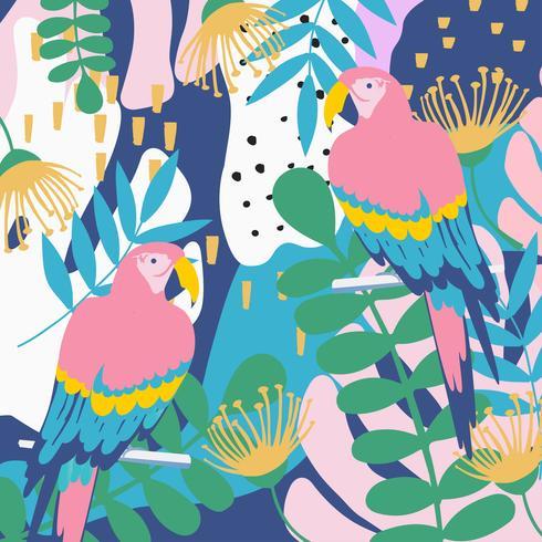 Tropiska djungelbladen och blommoraffischen bakgrund med papegojor