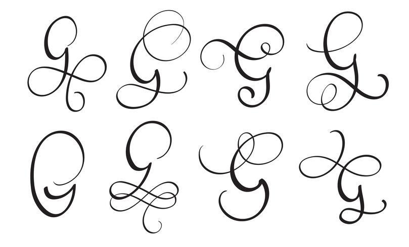 set van kunst kalligrafie letter G met bloeien van vintage decoratieve slierten. Vector illustratie EPS10