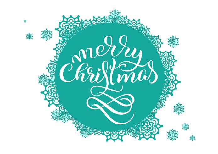 Fondo redondo de la turquesa con los copos de nieve en blanco y la Feliz Navidad del texto. Ilustración de vector EPS10. Letras de caligrafía