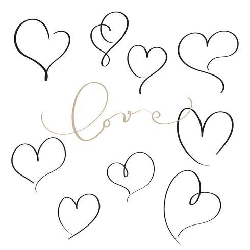 set of flourish calligraphy vintage hearts. Illustration vector hand drawn EPS 10
