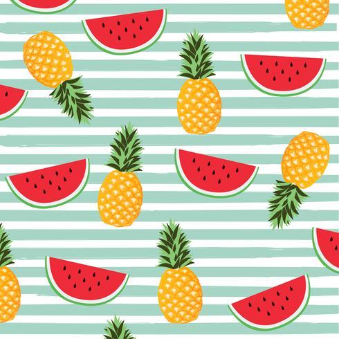 Fruits  on stripes seamless pattern background
