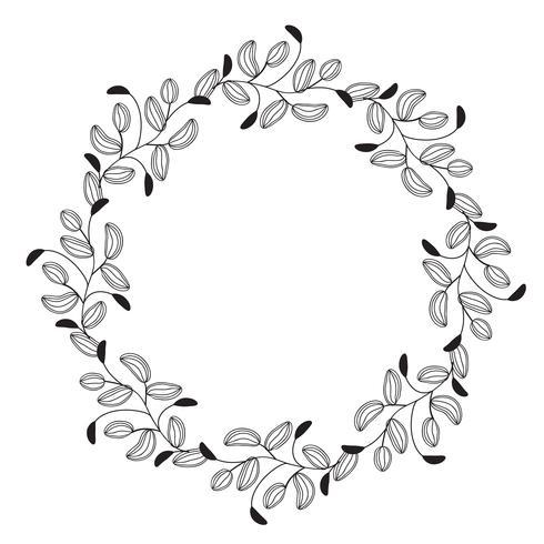 Hojas redondas del marco de los espirales decorativos del vintage redondo del flourish aisladas en el fondo blanco. Ilustración de vector de caligrafía EPS10