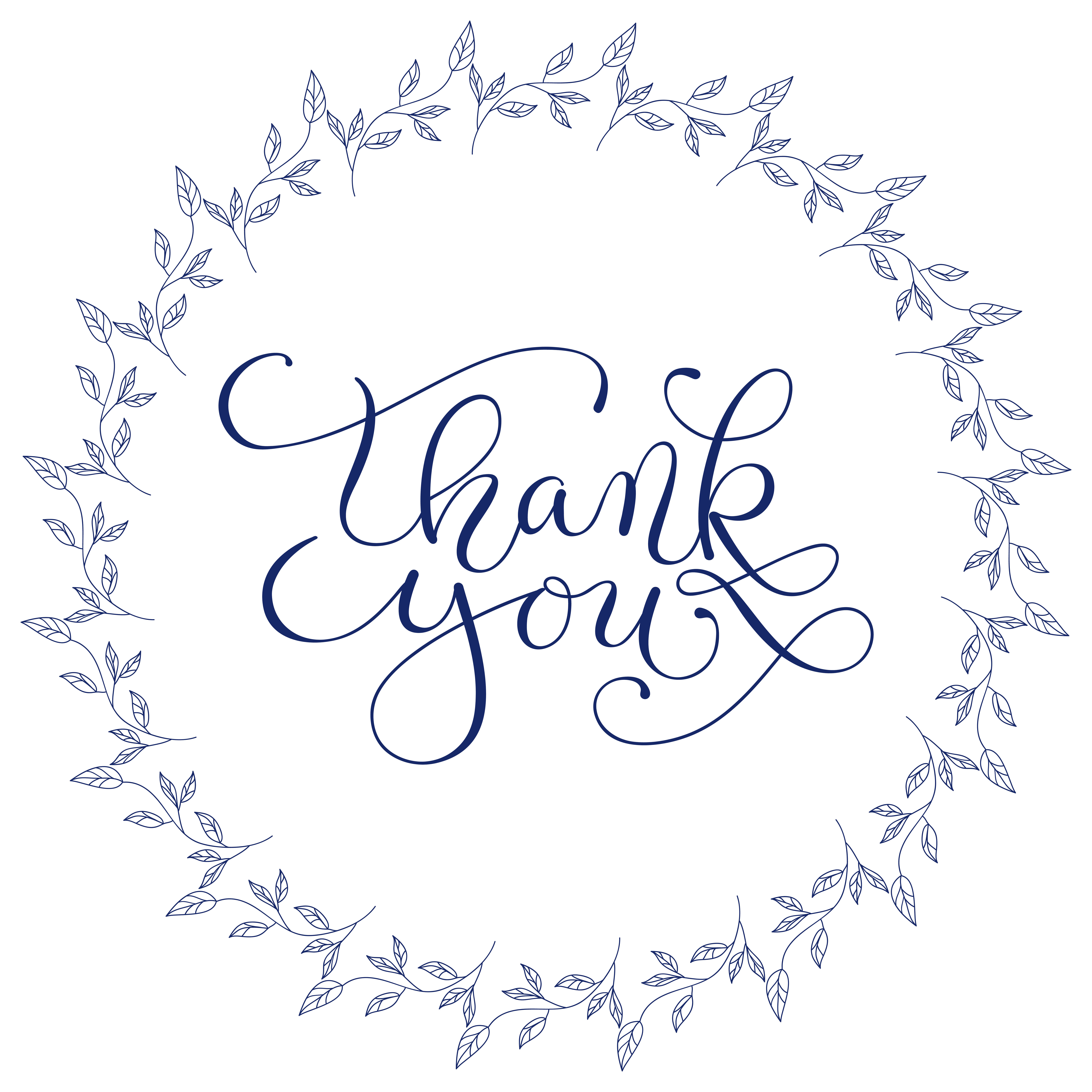 hand lettering words thank you with hand drawn floral