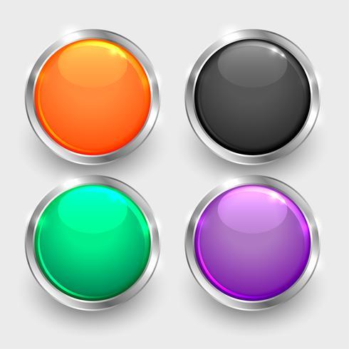 conjunto de botones brillantes redondos brillantes