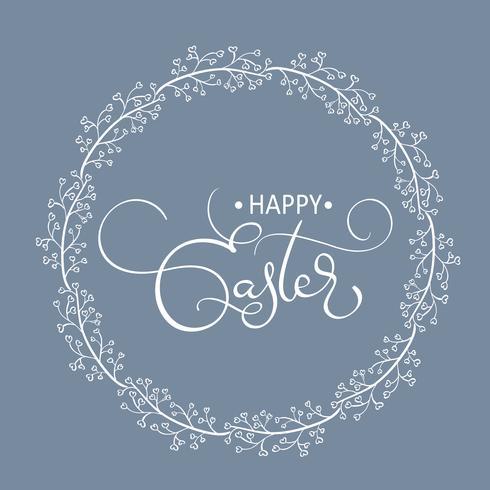 Palabras felices de Pascua en fondo redondo del marco. Ilustración de vector de letras de caligrafía EPS10