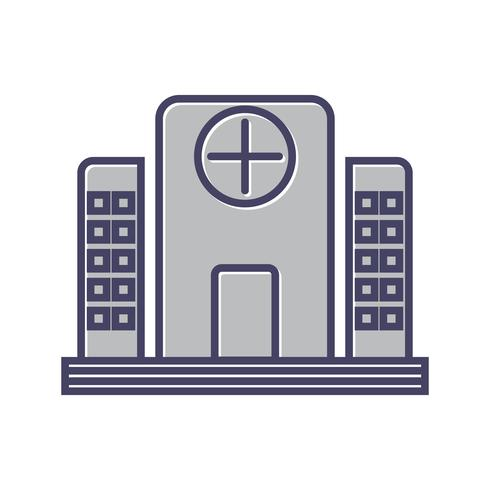 Icono de línea de hospital lleno