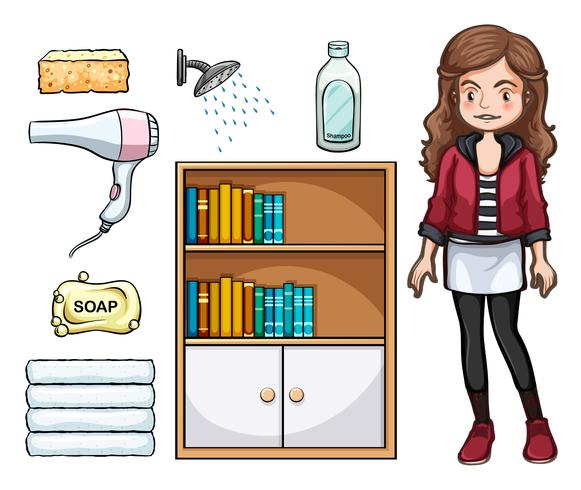 Woman and household objects