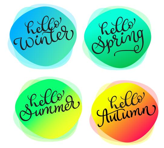 Conjunto de cartões Para todas as estações Olá Verão primavera outono inverno. Cartões com textura redonda aquarela
