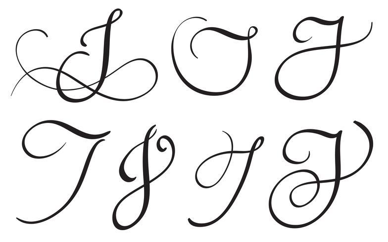 conjunto de caligrafía de arte letra J con floritura de verticilos decorativos. Ilustración vectorial eps10