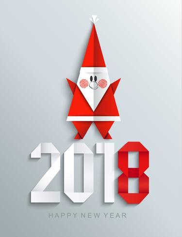 Nytt 2018 års pappershälsningskort med Santa.