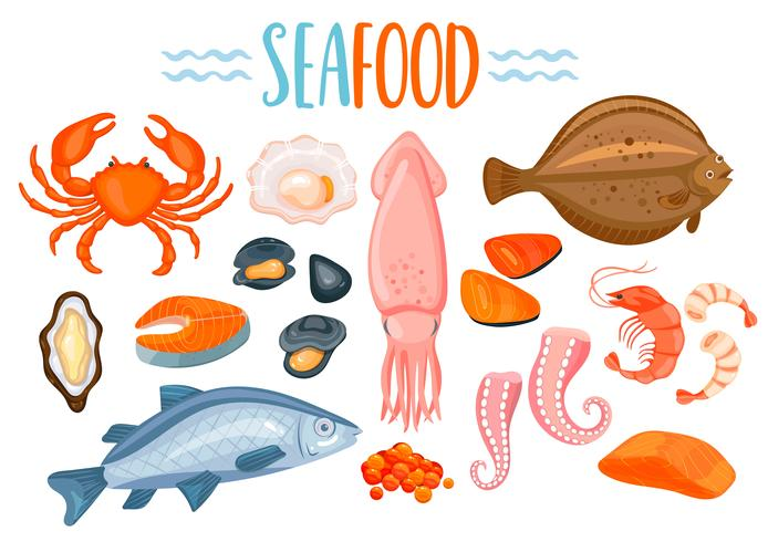 Set av Seafod ikoner i tecknad stil.