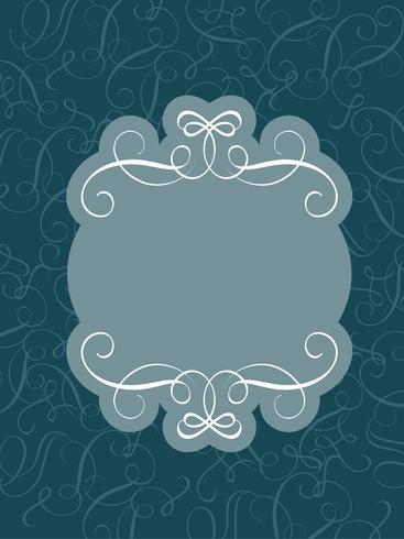 Marco decorativo vintage y el arte de las fronteras en azul oscuro. Ilustración de vector de letras de caligrafía EPS10