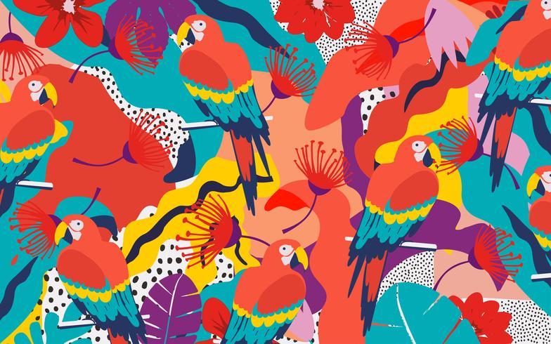 Fondo de cartel de hojas y flores de selva tropical con loros