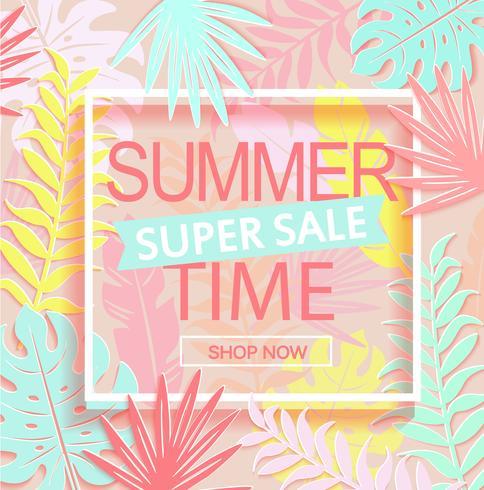 Summer time super sale banner.